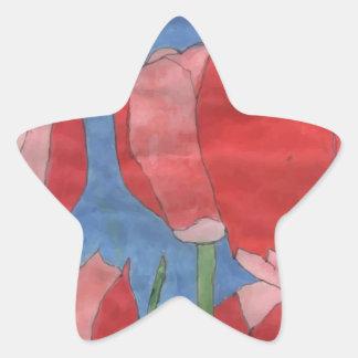 Red Flower Star Sticker