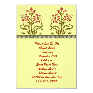 Red Flower Stencil Art Invitation