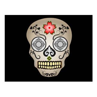 Red Flower Sugar Skull Postcard