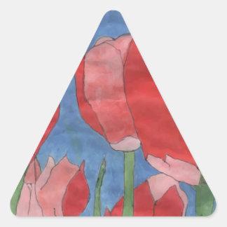 Red Flower Triangle Sticker