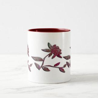 Red Flower Two-Tone Coffee Mug