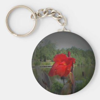 Red Flower w/ Pond Keychain