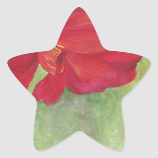 red flower watercolor star sticker