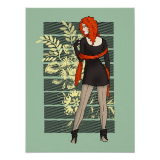 Red Flower Winter Pinup Posters