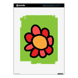 red flower with a green background skin for iPad 3