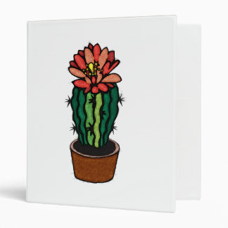 Red Flowered Colored Ink Cactus 3 Ring Binder