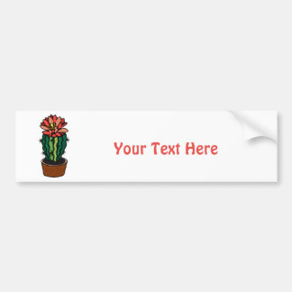 Red Flowered Colored Ink Cactus Bumper Sticker