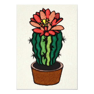 Red Flowered Colored Ink Cactus Announcements