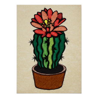Red Flowered Colored Ink Cactus Posters