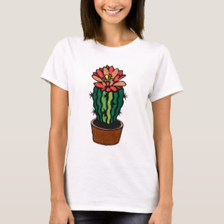 Red Flowered Colored Ink Cactus T-Shirt