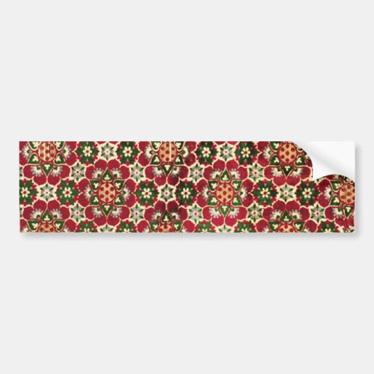 Red Flowered Medici Fabric Bumper Sticker