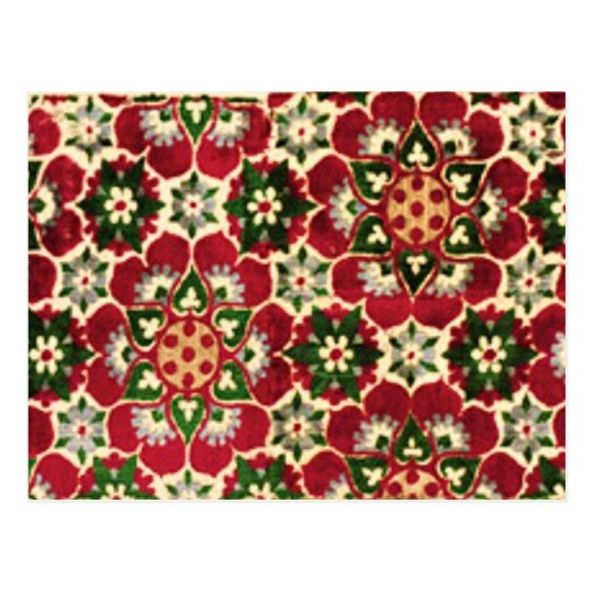 Red Flowered Medici Fabric Postcard