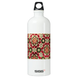Red Flowered Medici Fabric Water Bottle
