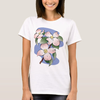 Red Flowering Dogwood Illustration T-Shirt