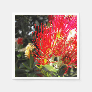Red Flowering New Zealand Christmas Tree Paper Napkin