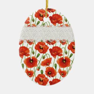 Red Flowering Poppy Ceramic Ornament