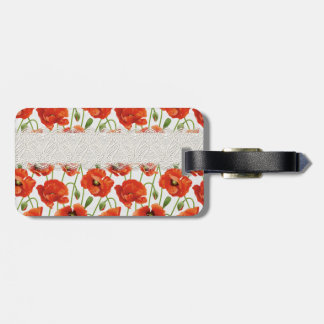 Red Flowering Poppy Luggage Tag