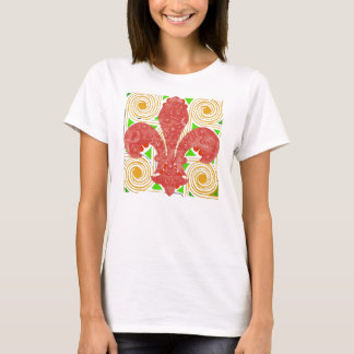 Red Flowers Abstract, Fleur De Lis Water Meter Lid T-Shirt
