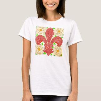 Red Flowers Abstract, Fleur De Lis Water Meter Lid T-Shirt