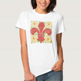 Red Flowers Abstract, Fleur De Lis Water Meter Lid Tee Shirt
