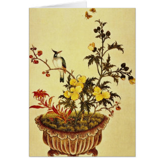 Red Flowers and Birds, unknown artist flowers Card