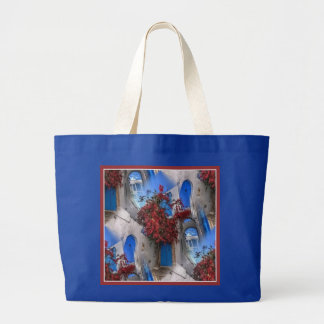 Red Flowers and Blue Doors Tote Bag