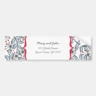 red flowers and blue leaves car bumper sticker