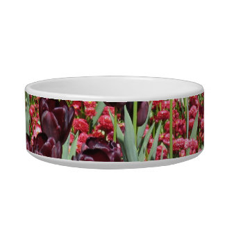 Red Flowers and dark tulips Cat Bowl