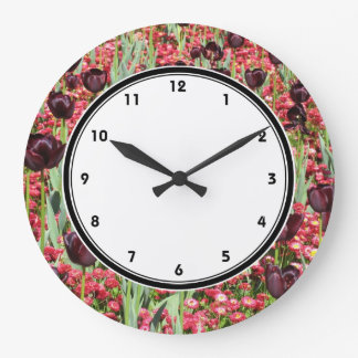 Red Flowers and dark tulips photography wall clock