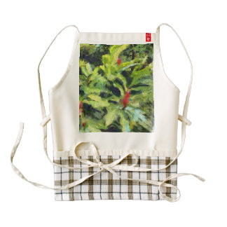 Red flowers and plants zazzle HEART apron
