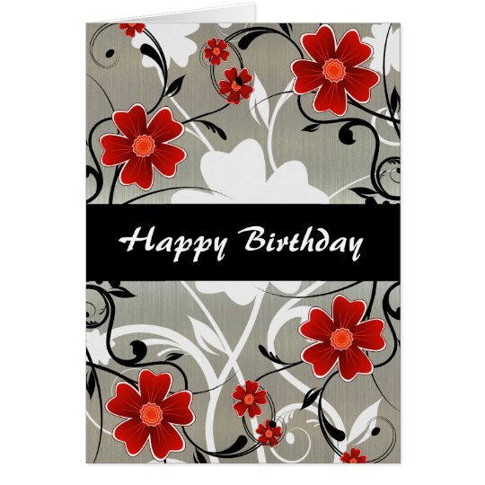 Red Flowers and Silhouette on Silver Card
