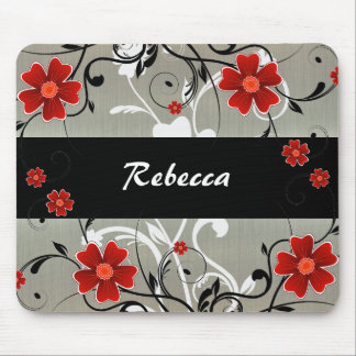 Red Flowers and Silhouette on Silver Mousepad