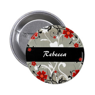 Red Flowers and Silhouette on Silver Pinback Button