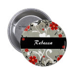 Red Flowers and Silhouette on Silver Pins