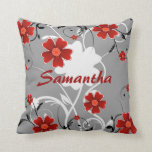 Red Flowers and Silhouette Pillows