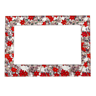 Red flowers and silver gray leaves magnetic frame