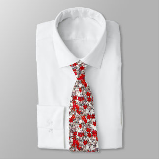 Red flowers and silver gray leaves tie