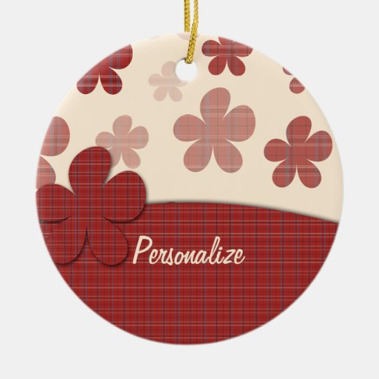 Red Flowers and Textile Pattern Ceramic Ornament