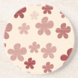 Red Flowers and Textile Pattern Coaster