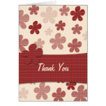 Red Flowers and Textile Pattern Greeting Card
