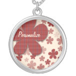 Red Flowers and Textile Pattern Pendants
