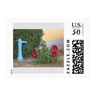 red flowers and well still life postage