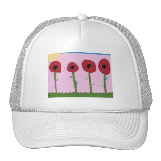 Red Flowers and Yellow Sun on Pink Paper Collage Trucker Hat