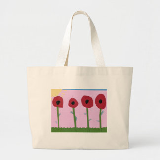 Red Flowers and Yellow Sun on Pink Paper Collage Large Tote Bag