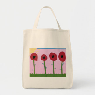 Red Flowers and Yellow Sun on Pink Paper Collage Tote Bag