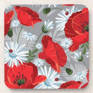 Red Flowers Beverage Coaster