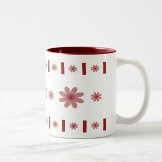 Red Flowers & Blocks Two-Tone Coffee Mug