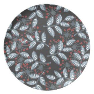 red flowers & blue leaves on dark plate