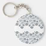 red flowers & blue leaves wave key chains