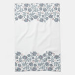 red flowers & blue leaves wave kitchen towel